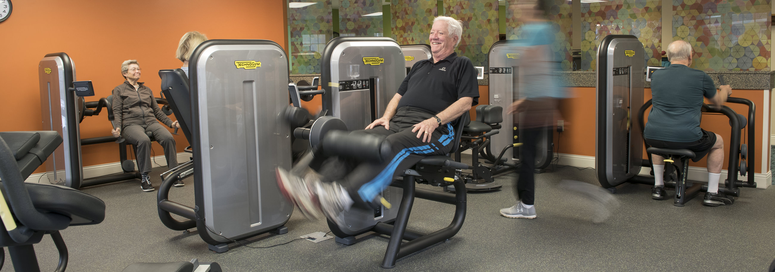 Residents at Garden Spot Village enjoy exercising and staying active in our newly renovated wellness department.