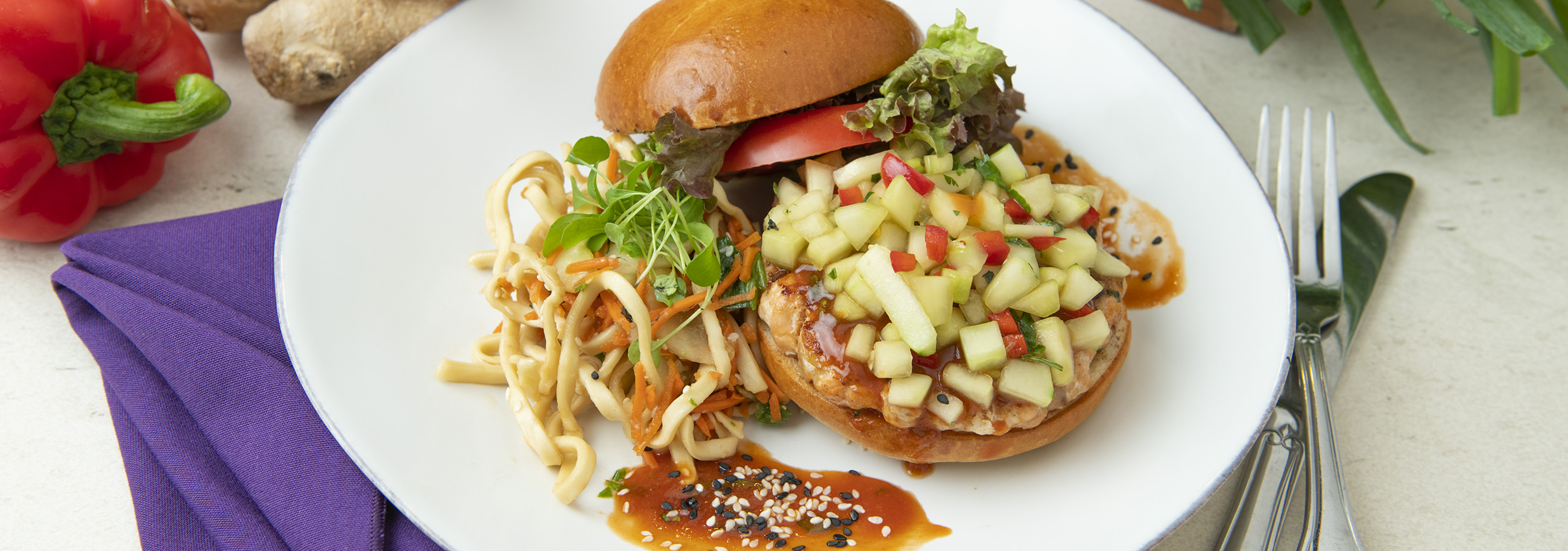 Asian Glazed Salmon Burger with Cucumber Relish