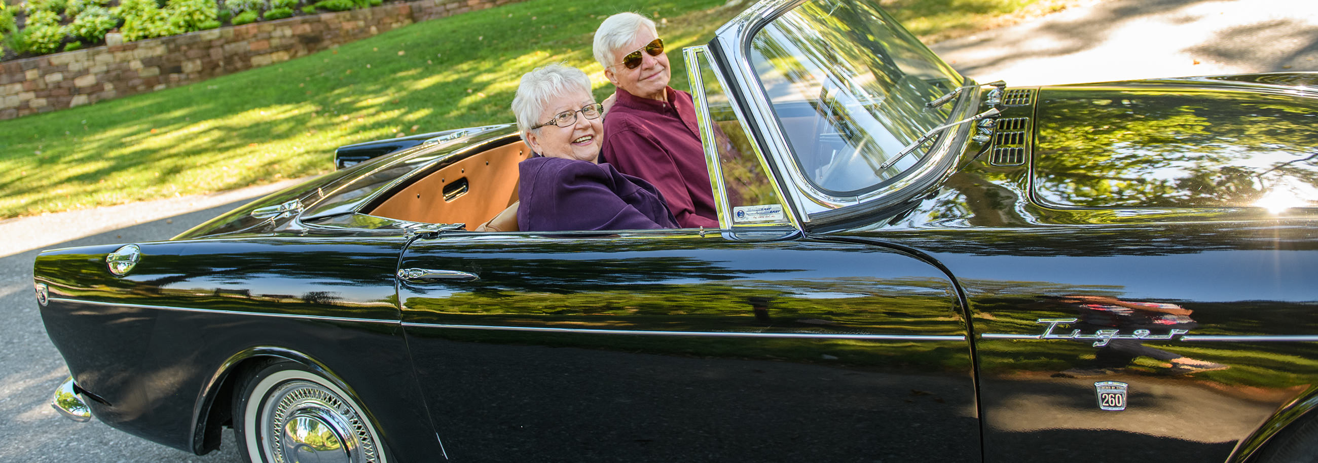 Jim and Jennie Sauer enjoy driving their Sunbeam Tiger on beautiful, sunshine-filled days.