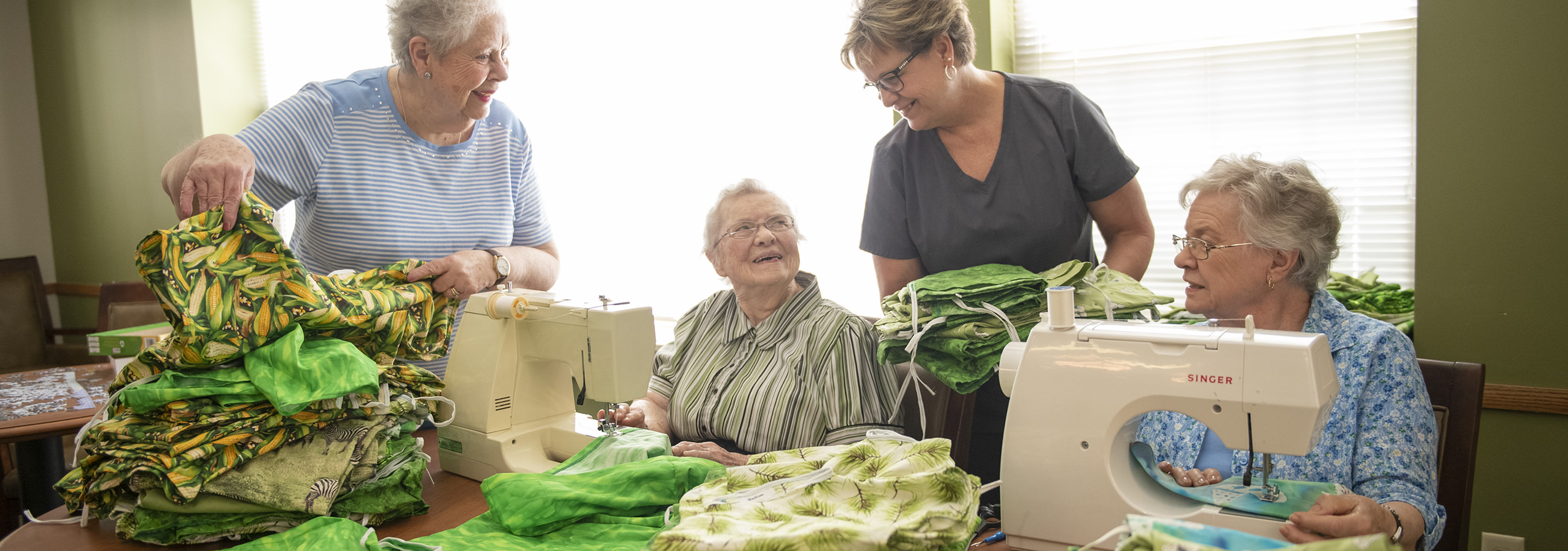 Garden Spot Village residents sewed 96 sets of pajamas, which will be hand-carried to Kenya by staff and residents on the Travel with Purpose trip to Kijabe, Kenya in late September 2019. Pictured, left to right: Nancy Buckles, Mabel Kurtz, Janie Martin, Sarah Brown.