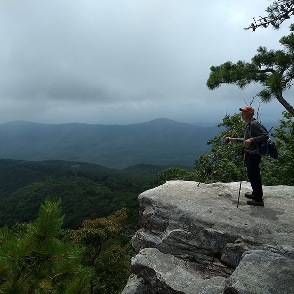 Bruce Munshower takes a moment to rest after hiking the Appalachian Trail in Virginia.
