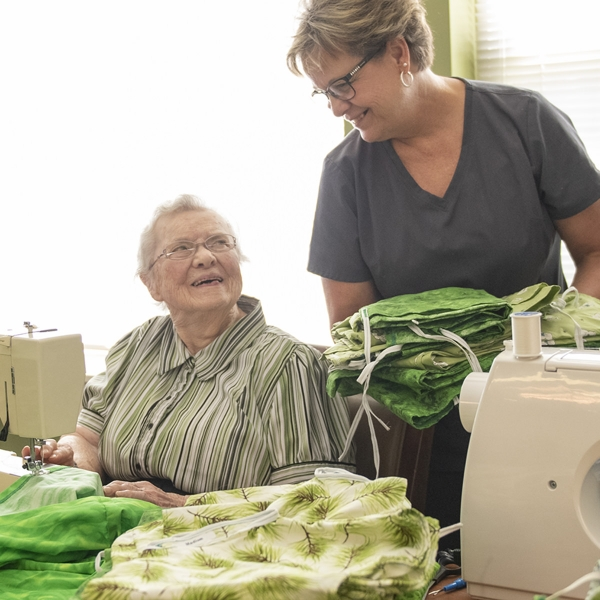 Garden Spot Village residents sewed 96 sets of pajamas, which will be hand-carried to Kenya by staff and residents on the Travel with Purpose trip to Kijabe, Kenya in late September 2019. Pictured, left to right: Mabel Kurtz, Janie Martin.