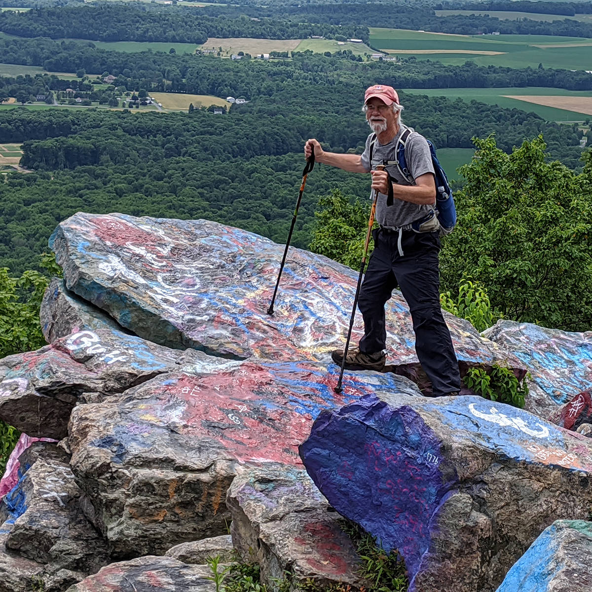 Bruce standing at an overlook along the Appalachian Trail at Bake Oven Knob