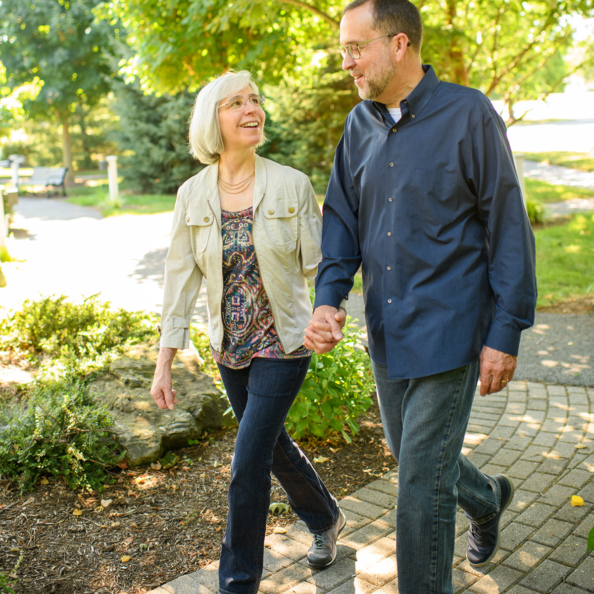 Ted and Kathy Krug enjoy walking in the Legacy Garden at Garden Spot Village.