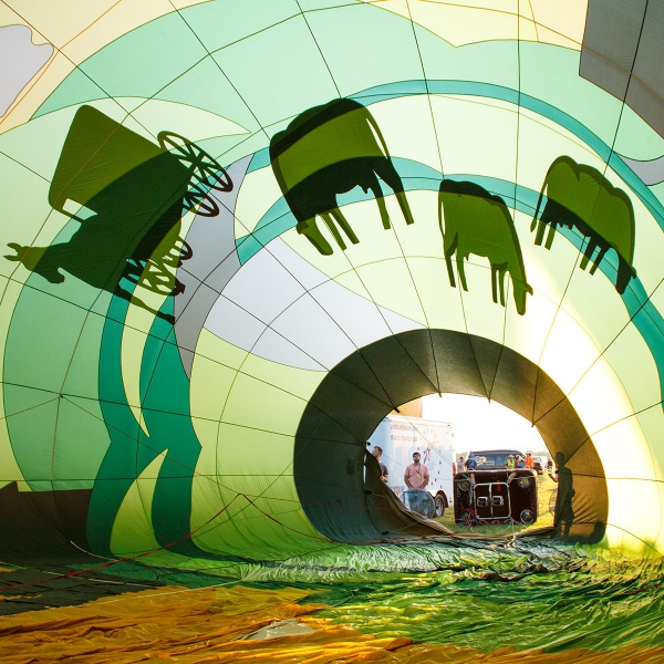 Inside the Garden Spot Village Hot Air Balloon during inflation