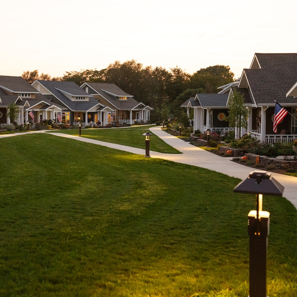 Evening paths with lighted lamps at the Sycamore Springs neighborhood at Garden Spot Village
