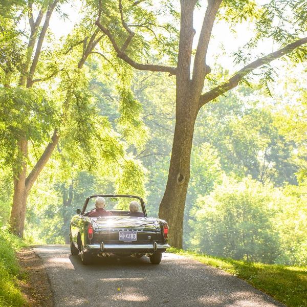 Jim and Jennie Sauer's 1966 Sunbeam Tiger offers a fun way to travel.