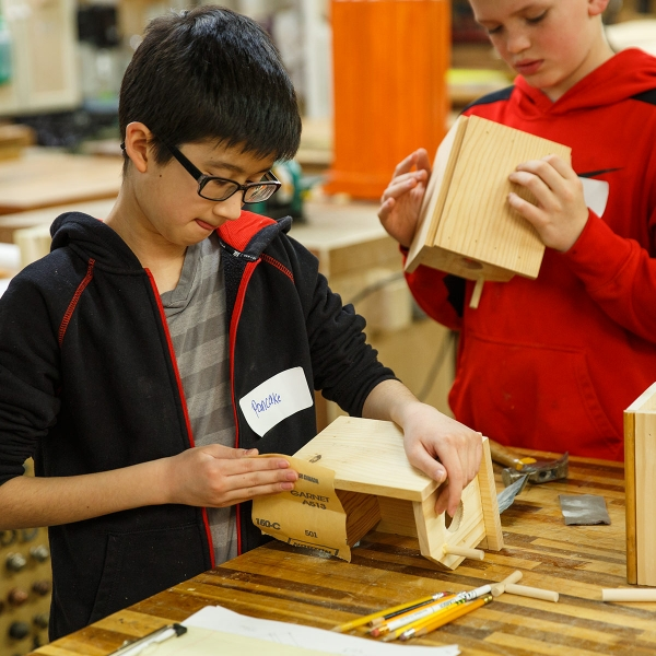New Holland Elementary students craft projects in the Garden Spot Village Wood Shop.