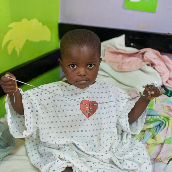 A child at the CURE Kenya Hospital in Kijabe, Kenya holds his