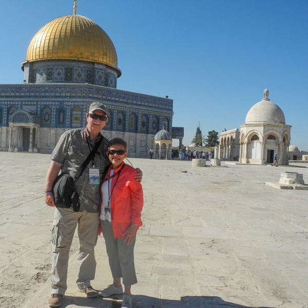 Garden Spot Village residents John and Sherry Hart pose in front of the Temple Mount in Jerusalem.