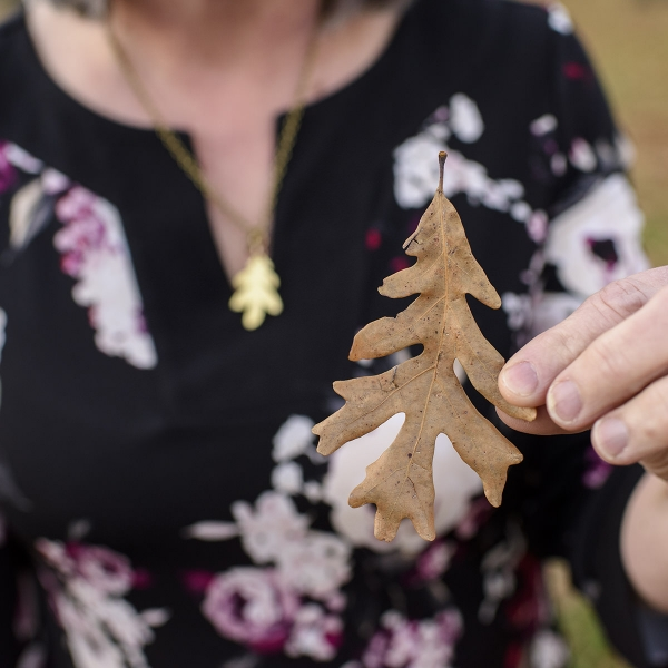 Betsy Peterson shows how an oak leaf can be a Christmas tree.