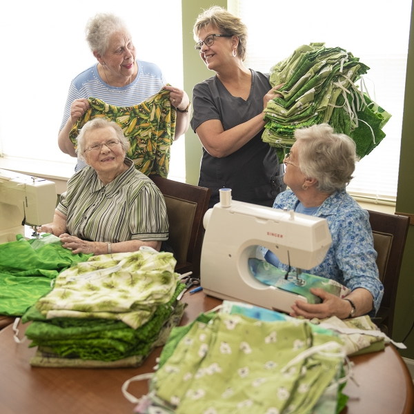 Garden Spot Village residents sewed 96 sets of pajamas, which will be hand-carried to Kenya by staff and residents on the Travel with Purpose trip to Kijabe, Kenya in late September 2019. Pictured, clockwise: Nancy Buckles, Janie Martin, Sarah Brown, Mabel Kurtz,